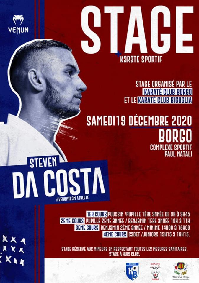Le cadeau de Noël du champion du monde Steven Da Costa aux karatekas de Biguglia et Borgo