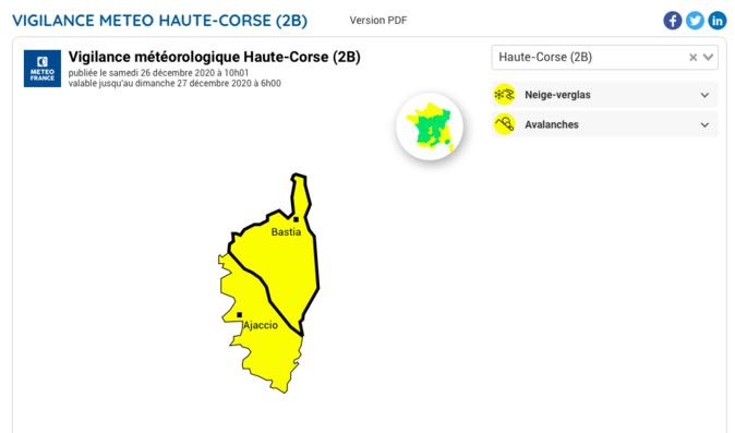 La Corse placée en vigilance jaune à la neige ce samedi