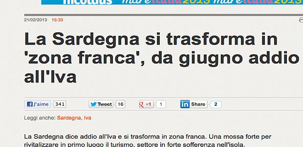 Encore plus de concurrence pour la Corse : La Sardaigne décrète la zone franche