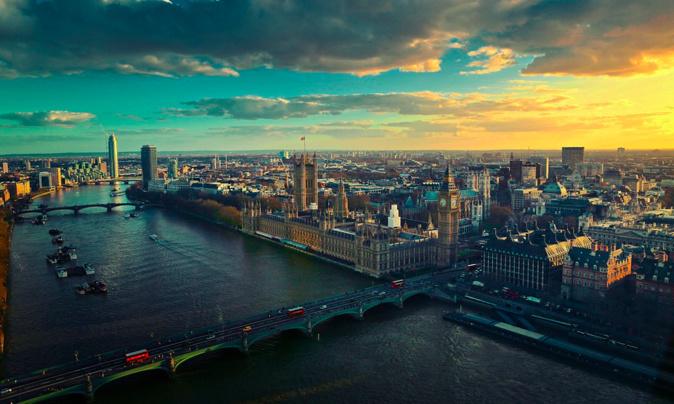 Vue aérienne de Londres. Photo illustration