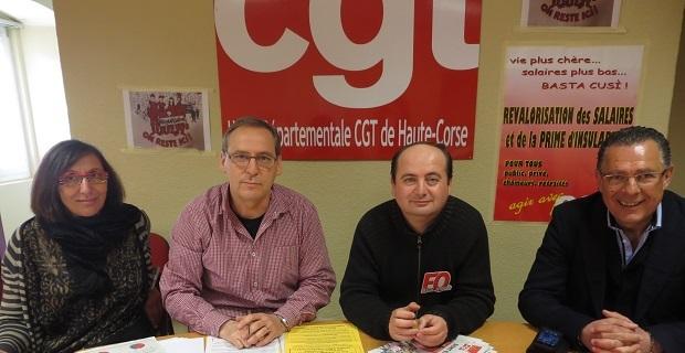 Les représentants de la CGT et FO : Jackie Tartuffo, Jean-Pierre Battestini, Daniel Spazzola, Antoine Mandrichi