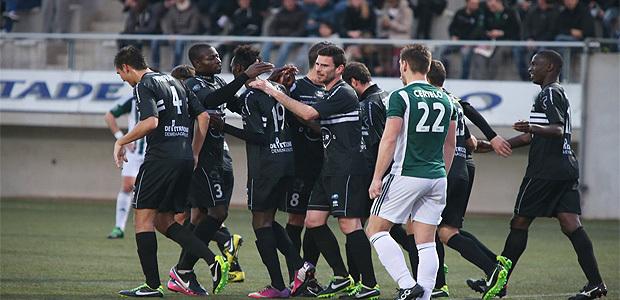 La joie des joueurs du CAB après le deuxième but inscrit par N'Diaye