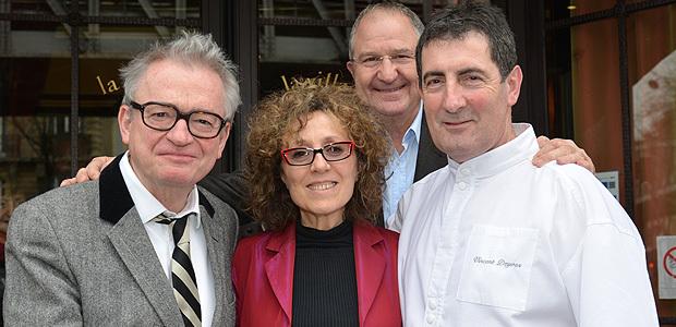 Jean Luc Petitrenaud, Mireille Dumas, Jean-Marc Venturi, président du CIV Corse et le chef Vincent Deyres. (Photo Philippe Bidaine)