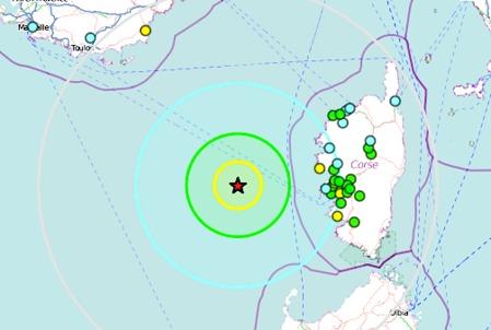 Nouveau séisme de magnitude de 3,9 à l'Ouest d'Ajaccio
