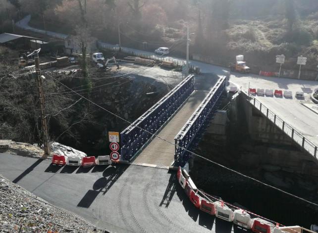Route d'Orezza : le pont provisoire ouvre à la circulation