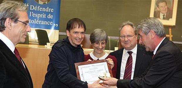 """Jean-François Bernardini a reçu le""""Prix de la Tolérance"""""""" à Strasbourg"""