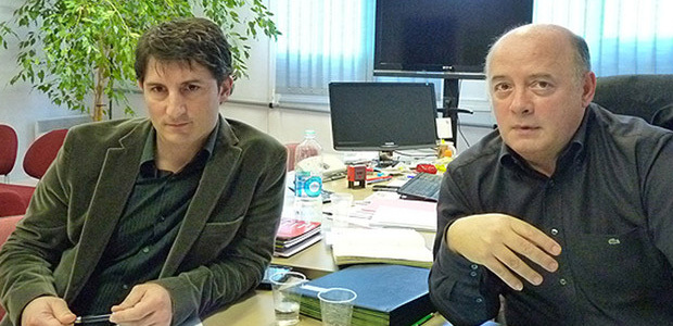 Nicolas Zammataro (à gauche) en compagnie de Bernard Giudicelli, directeur de la Mission locale de Bastia