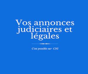 Les annonces judiciaires et légales de CNI : Avis de saisine de légataire universel-Délai d'opposition