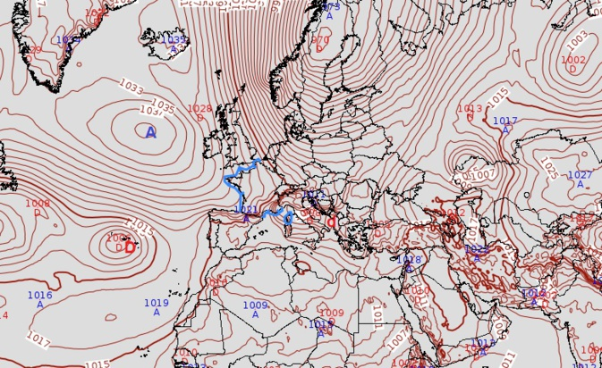 L'anticyclone Islandais va générer un courant froid sur l'Europe de l'ouest.