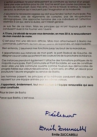 Mairie de Bastia : Emile Zuccarelli passe la main…