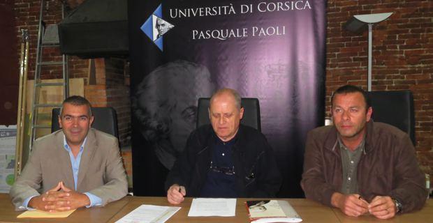 Antoine Aiello, directeur du laboratoire Stella Mare, Paul-Marie Romani, président de l'università di Corsica et Jean-François Rossi, directeur de la SITEC.