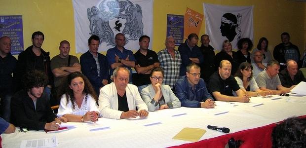 Les responsables du mouvement Corsica Libera ont annoncé leur décision de ne pas rencontrer le ministre Manuel Valls, lors d'une conférence de presse lundi soir à Ajaccio. (Photo : Yannis-Christophe Garcia)