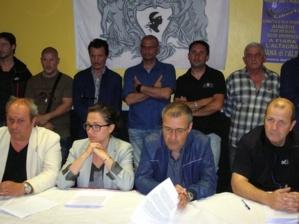"""Jean-Guy Talamoni, Président du groupe Corsica Libera à l'Assemblée de Corse, a estimé ce soir, lors d'une conférence de presse à Ajaccio, que """"les conditions pour un dialogue serein avec le ministre ne sont pas réunies pour que nous participions à ce rendez-vous"""". (Photo : Yannis-Christophe Garcia)"""