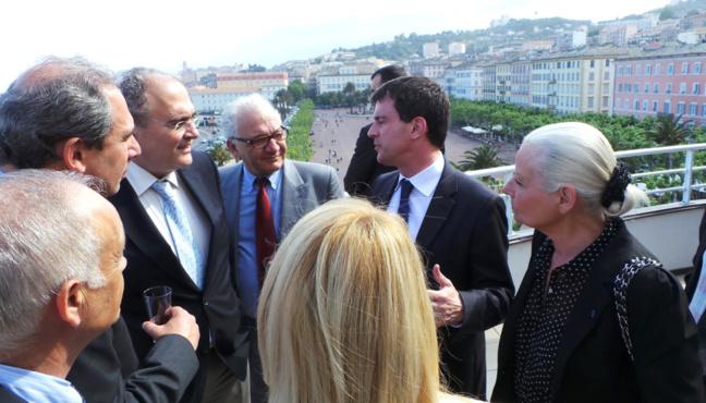 Paul Giacobbi et Manuel Valls à la Mairie de Bastia.