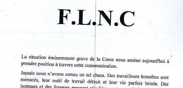 Le FLNC menace de reprendre les armes