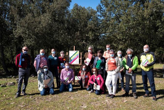 Le rassemblement Ecologia Sulidaria lors de la conférence de presse du 23 avril 2021.