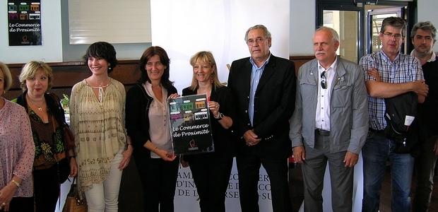La campagne de la CCI 2A en faveur du commerce de proximité a été lancée ce mardi en présence de la présidente Nathalie Carlotti et de l'ensemble des partenaires. (Photo : Yannis-Christophe Garcia)