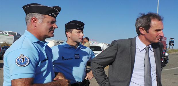 Le major Lallemant, le colonel Didier Rahmani et Alain Rousseau préfet de Haute-Corse