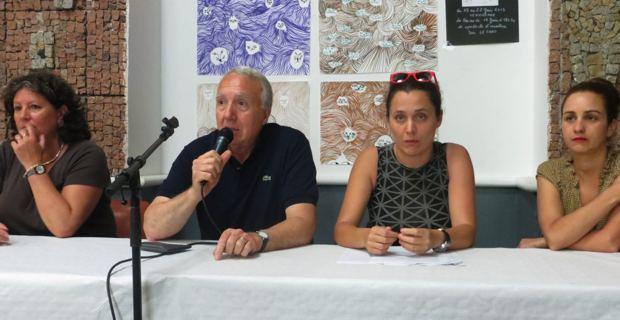 Mme Bascoul, Francis Riolacci, Frederique Flori, Delphine Ramas des Affaires culturelles de la ville de Bastia
