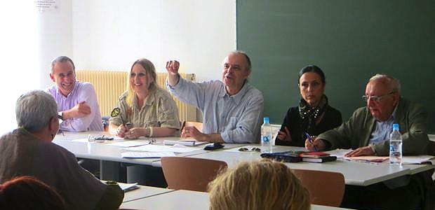Ange-Pierre Vivoni, Isabelle Luccioni, André Paccou, Patrizia Poli et Père Gaston Pietri, membres du Collectif.