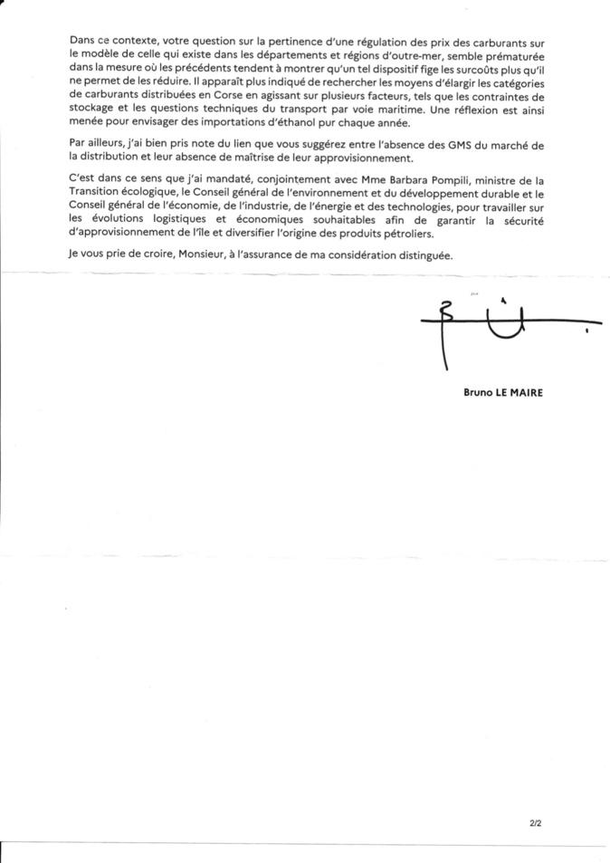 Prix des carburants en Corse : Bruno le Maire opposé à une régulation, propose l'importation d'éthanol