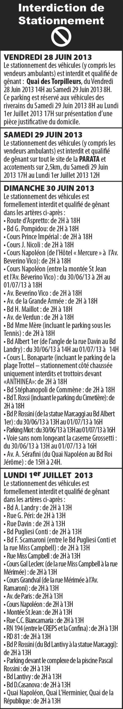 Le Tour de France à Ajaccio : Stationnement et circulation réglementés