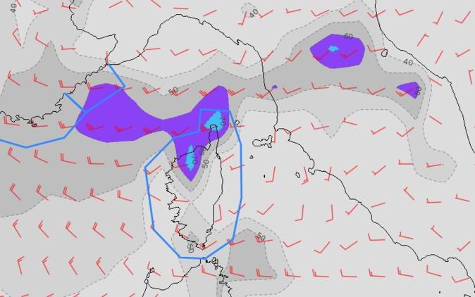 Coup de vent attendu sur la Corse de lundi soir à mercredi.