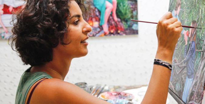 Nazanin a trouvé l'inspiration en centre Corse, lors de sa résidence à Casell'Arte © Rita Scaglia