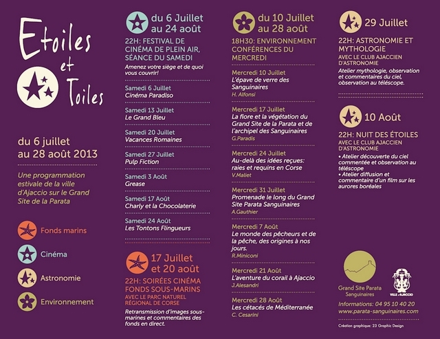 """Le calendrier du programme """"Etoiles et Toiles"""". (Document DR)"""
