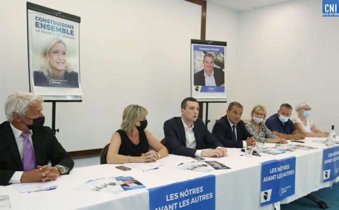 Jordan Bardella a fait le déplacement à Ajaccio pour soutenir François Filoni, tête de liste RN pour les élections territoriales. Photo : Michel Luccioni