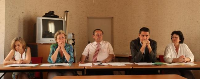 Marcelle Franceschi secrétaire générale adjointe, Maryse Escoffier secrétaire générale, J.-Luc Giocanti directeur de cabinet du recteur, M.-Dominique Bonavita chef de cabinet