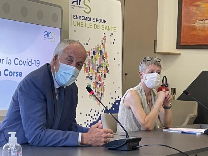 Le préfet de Corse, Pascal Lelarge, et la directrice de l'ARS de Corse, Marie-Hélène Lecenne