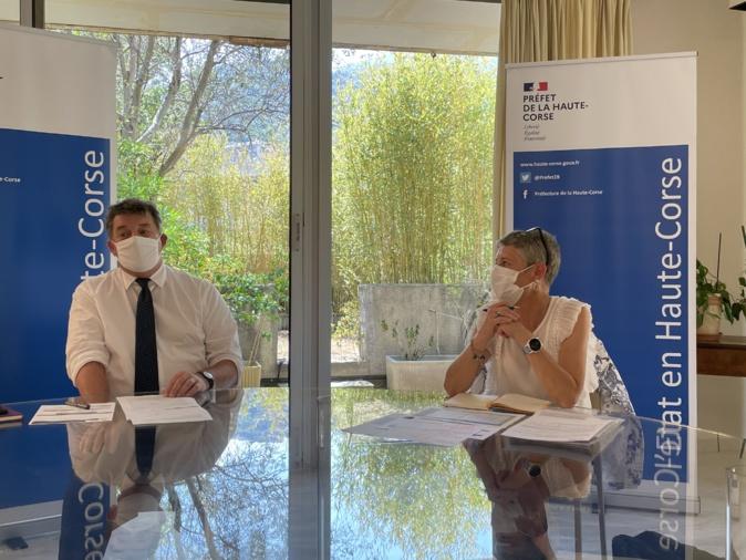 Le préfet de Haute-Corse et la directrice de l'ARS à Bastia
