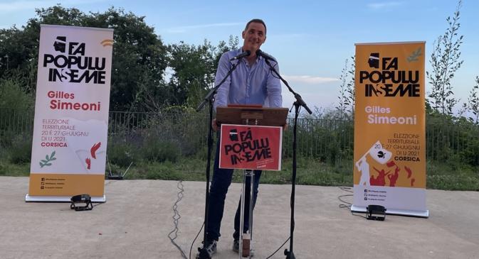 Gilles Simeoni, président du Conseil exécutif de la Collectivité de Corse, leader de Femu a Corsica, chef de file de la liste Fa populu Inseme pour les élections territoriales des 20 et 27 juin.