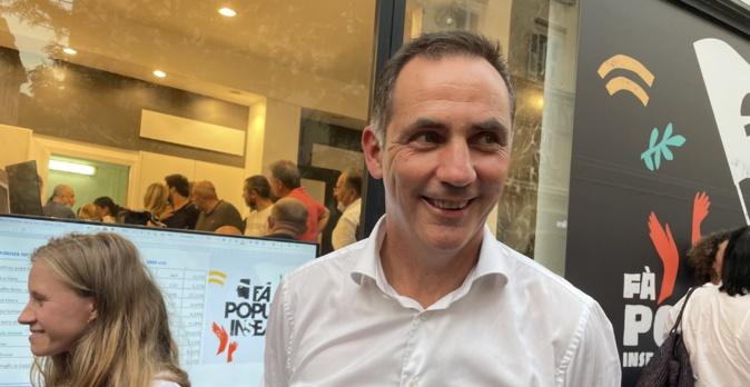 Le nationaliste Gilles Simeoni, président de l'Exécutif sortant et chef de file de la liste Fa Populu Inseme, sorti en tête du 1er tour des élections territoriales en Corse.
