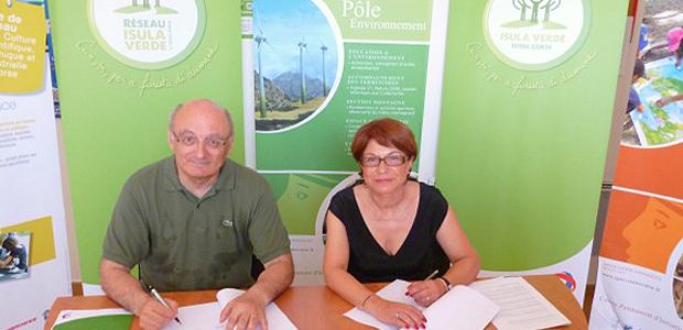 Antoine Feracci, président du CPIE Corte Centre Corse-A Rinascita & Marie-Noëlle Leonelli, directrice générale de Total Corse , fondatrice d'Isula Verde