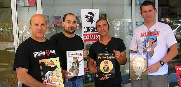 Nino, Ghjuvà, Frédéric Federzoni et Sorlin ont rencontré leur public ce vendredi à la librairie des Palmiers. (Photo : Yannis-Christophe Garcia)