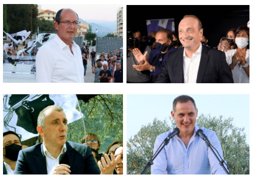 Les quatre candidats en lice pour le second tour : Paul-Félix Benedetti, Laurent Marcangeli, Jean-Christophe Angelini et Gilles Simeoni.