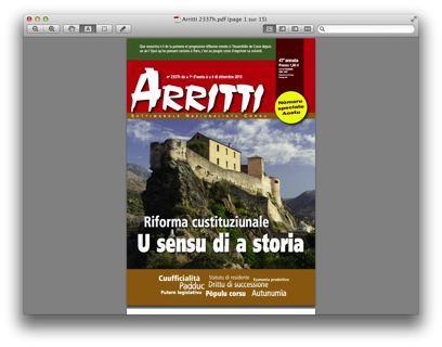 Un numéro spécial d'Arritti consacré à la réforme institutionnelle
