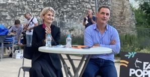 Nanette Maupertuis et Gilles Simeoni lors du meeting du 1er tour à Bastia. Photo CNI.