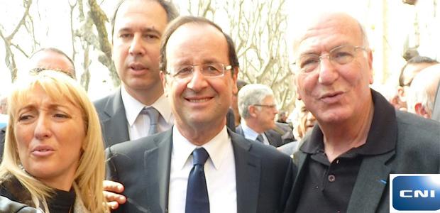 Le candidat Hollande à Bastia en Mars 2012 avec Emmanuelle de Gentili, Jean Zuccarelli et Jean-Baptiste Raffalli.