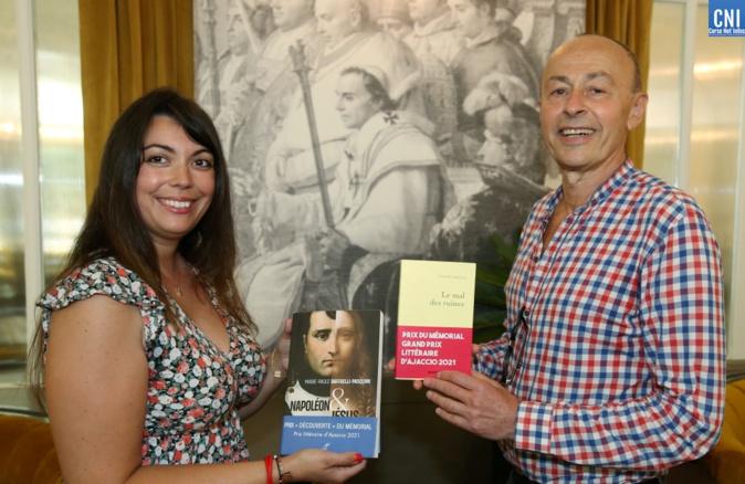 Les deux lauréats Marie-Paule Raffaelli-Pasquini et Claude Arnaud, ce vendredi 6 août à Ajaccio. Photo : Michel Luccioni
