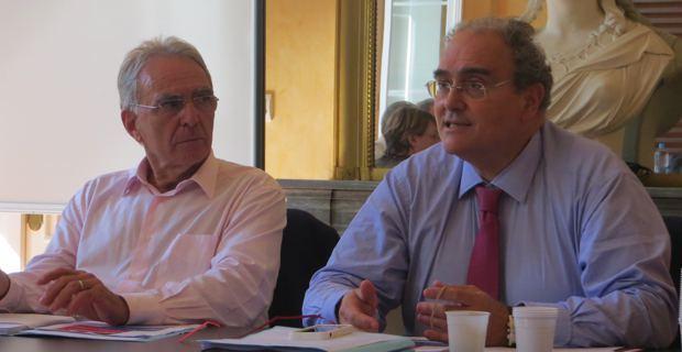 Antoine Sindali, maire de Corte, et Paul Giacobbi, président de l'Exécutif de la CTC.