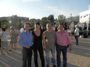 Alexandre Sarrola avec Armelle  de l'EMAS et Jean-François Sarrola et Pierre-Paul Battesti, adjoints