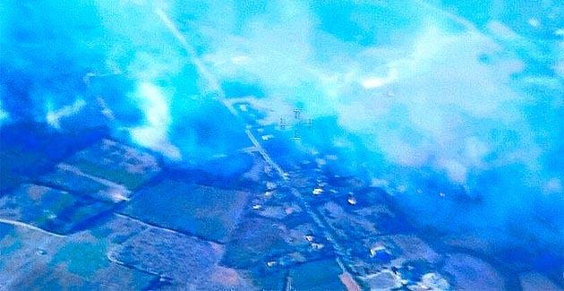 Le feu de Ghisonaccia vu depuis l'avion de reconnaissance du Sdis
