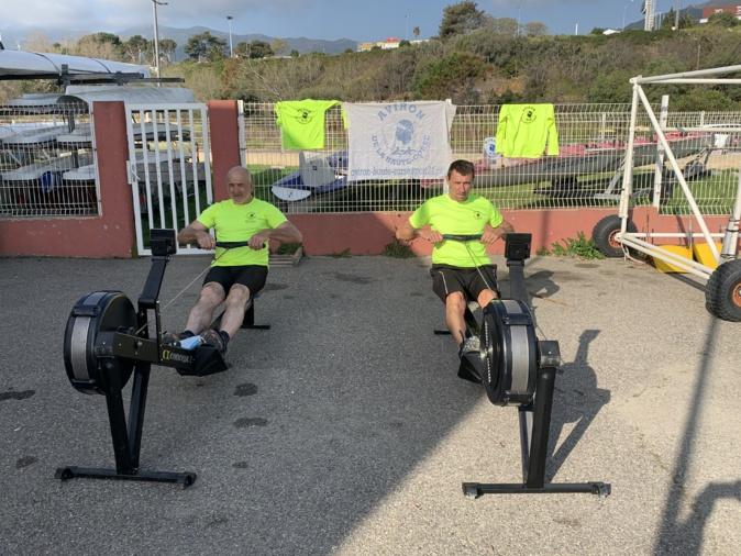 Fred Kowal à droite, à l'entrainement avec son président de l'Aviron Haute-Corse, Paul Mattia