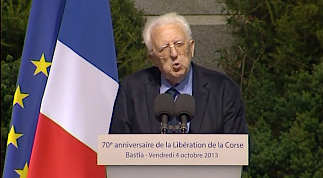 Une des rares interventions publiques de Léo Micheli en octobre 2013 à Bastia à l'occasion du 70e anniversaire de la libération de la Corse en présence de François Hollande