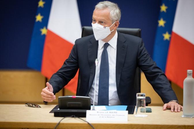 Bruno Le Maire s'exprimant sur la fin du fonds de solidarité au ministère de l'Economie ce 30 août. Photo Twitter @BrunoLeMaire