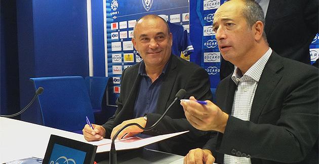 """Mathieu Cesari (à gauche) et Pierre-Noël Luiggi : """" Oscaro.com et le Sporting qui gagnent"""""""
