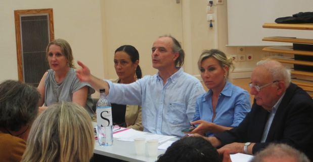 Cinq des 11 membres du Collectif : Isabelle Luccioni, Patricia Poli, André Paccou, Me Linda Piperi et le père gaston Pietri.